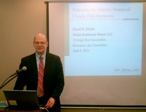 Chicago business attorney David Staub speaking to the Chicago Bar Association